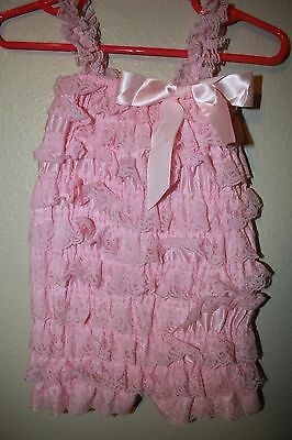 Baby Girl Pink Baby Girl One-Piece Lace Ruffle Bodysuit Outfit Size M