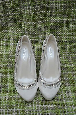 Ladies Bride Bridal Wedding Shoes Ivory Satin & Diamante Size UK 5 EU 38 Cerys