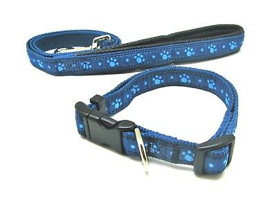 Rosewood Wag N Walk Adjustable 'Blue Paws' Nylon Dog Collars and Leads All Sizes