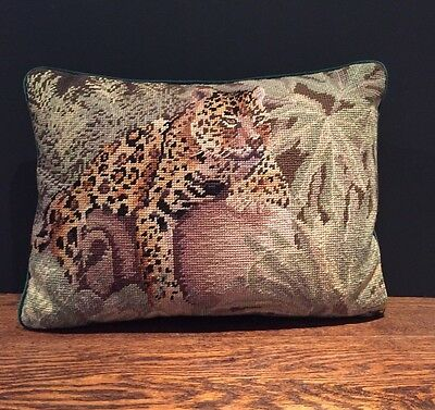 Vintage Leopard Tapestry Handmade Cushion Textiles Needlepoint Complete