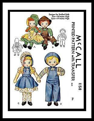"Vintage Stuffed DOLL Sewing Pattern McCall # 1158 Sunbonnet Sue 18"" & Sam 19"""