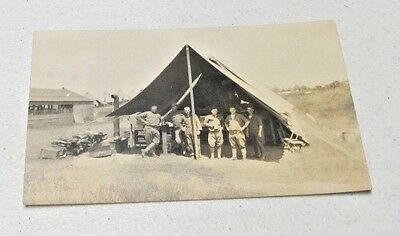 Vintage Real Photo Postcard Rppc Men Standing In Army Tent~~L@@k~~