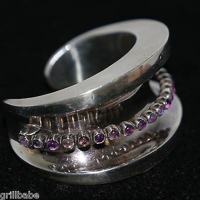 161Gr Mexican Modernist Pivoting Amethyst Sterling Silver Concave Cuff Bracelet
