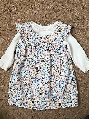 Girls Floral  M&S Dress Age 0 -3 Months