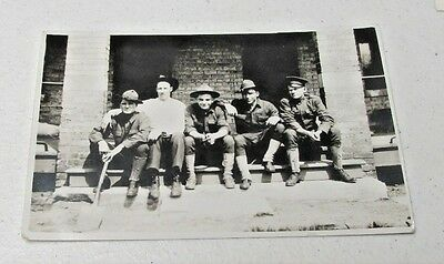 Vintage Real Photo Postcard Rppc Soldiers Sitting On Steps ~~L@@k~~