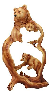 """African Lion King Figurine Rustic Faux Wood Resin 8.5"""" Length Sculpture"""