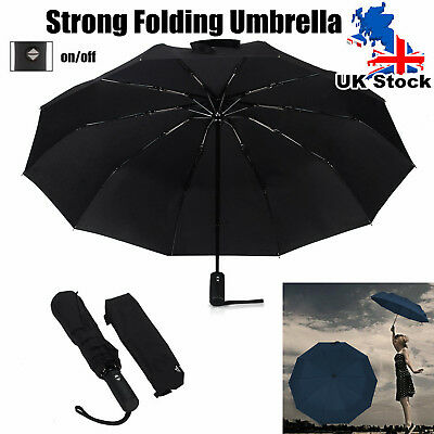 Large 2 People Automatic Windproof Folding Compact Umbrella Black Anti-UV Rain