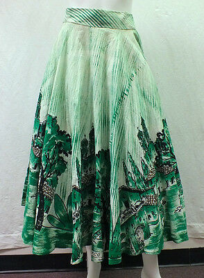 Vtg 1950's Taxco Mexican Circle Skirt Hand Painted Sequins Village Petticoat S/M