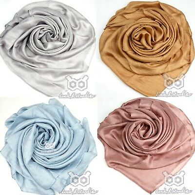 Shimmer Satin Silk Plain Large Maxi Scarf Hijab Shawl Wrap Sarong Bridal Wedding
