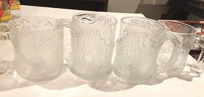 Vintage 1993 McDonald's Flintstone Glass Mugs