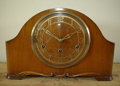 Beautiful Smiths Enfield Westminster Chime Wooden Case 8 day Mantel Clock