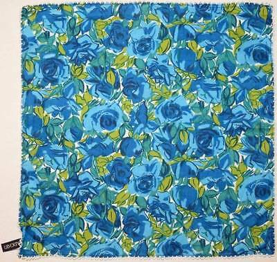 LIBERTY of LONDON Floral HANKIE / POCKET SQUARE Blue Roses Cotton