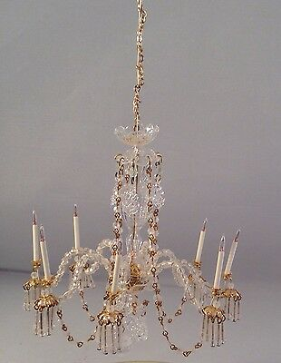 Artist Made Miniature Waterford Inspired Eight Arm Chandelier,P. Tucker, 1:12