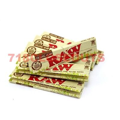 Raw Rolling Paper, King Size Slim, Organic Hemp 32 Leaves (Pack of 3)