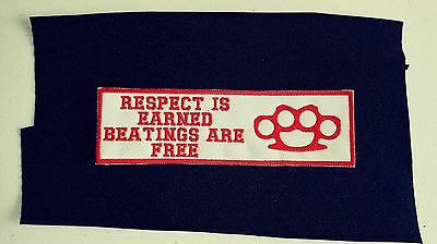 """Support Red & White  Patch """"Respect is Earned Beatings Are Free"""" Brass Knuckles"""