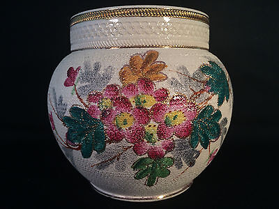 Antique English Hand Painted Vase Pottery Signed Tapestry Flower Floral England