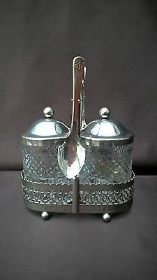 Vintage Silver Plated And Glass Pickle / Jam Preserve Pot Set