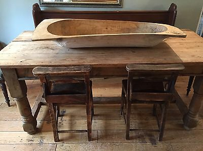 Antique Large Hand Carved Rustic Wooden Trough