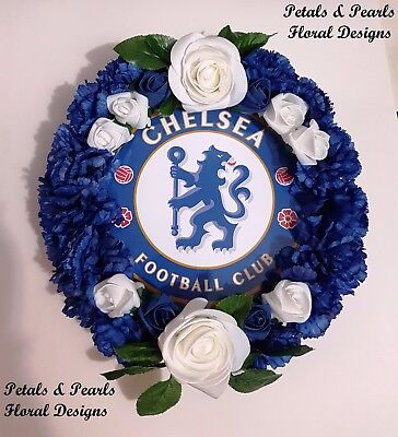 Artificial Silk Flower Round CHELSEA FC Football Funeral Wreath Memorial