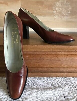Evins Brown Vintage Heels Shoes Calfskin Leather Style: Solier 6 Aaaa Italy Euc
