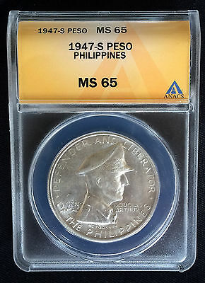 *** 1947 S Philippines ***  One Peso  *** MS 65 ***
