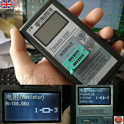 Portable 12864 LCD Transistor Tester Capacitance ESR Meter Diode Triode MOS NPN