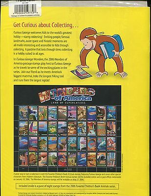 Curious George Stamp & Sticker Book Wonders of America US Stamps #4033-4072