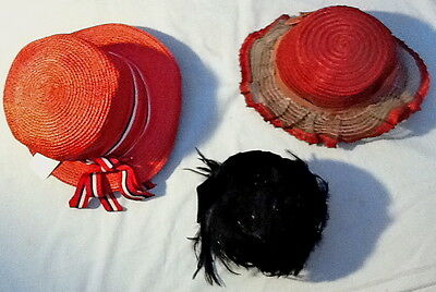 Lot of 3 Vintage Ladies Red and Black Feathers Hats