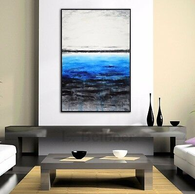 ORIGINAL MODERN ART LARGE BLUE ABSTRACT CONTEMPORARY OIL PAINTING ~ L. Beiboer