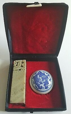Carved Chinese Dragon Soapstone Stamp and Ink Pad with Case