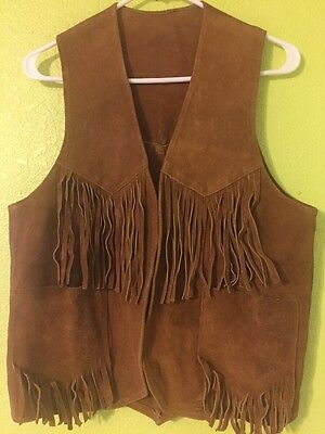 Vintage Hippie Men's Suede Fringe Vest Small GREAT THINGS CANADA