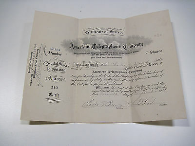 Antique 1914 American Telegraphone Company Stock Certificate 1 Share Market