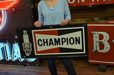 Champion Spark Plugs Sign Tin Embossed Advertisng Dealer Gas Oil Station Advert
