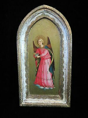 "8"" Vintage Painted Tole Gold Wood Italian Florentine Angel playing Cymbals Panel"