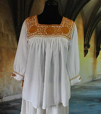 Gold & Cream Hand Embroidered Blouse Mayan, Chiapas Mexico Peasant Hippie Boho