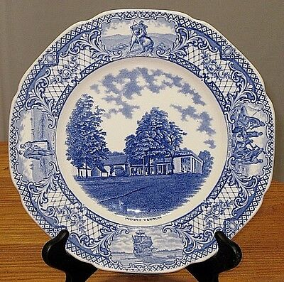 "Crown Ducal Colonial Times MOUNT VERNON VA 10 5/8"" Plate Blue Floral & Scene Bor"