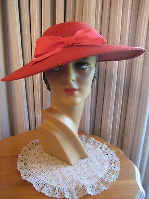 Stunning 40's Red Straw Wide Brim Hat W/ Large Red Front Grosgrain Bow