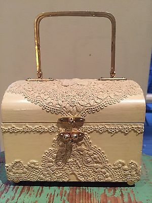 Vintage Small Ivory Decoupage Lace Wooden Box Top Brass Handle Purse Hand Bag