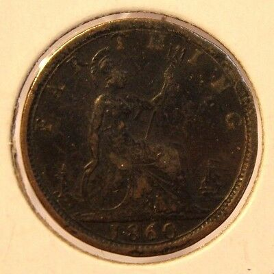 1860 Great Britain Farthing RARE Toothed and Beaded Border Coin Thecoindigger