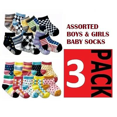 3 PACK x BABY BOYS or GIRLS SOCKS Sockettes Anti Slip Newborn CLEARANCE SALE