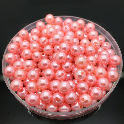 NEW 6mm 100Pcs Pink Acrylic Round Pearl Spacer Loose Beads Jewelry Making #-09