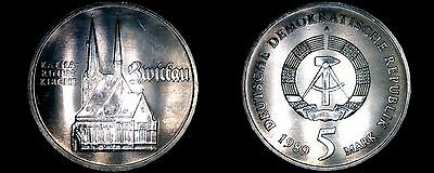 1989-A German Democratic Republic 5 Mark Coin- East Germany- Katharinen Kirche