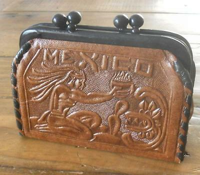 Fabulous Vintage Stamped Leather Souvenir Coin Purse From Mexico