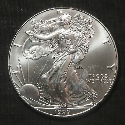"1999 Silver American Eagle 1 Oz Bullion Coin ""milkspots"" Lot 251059"