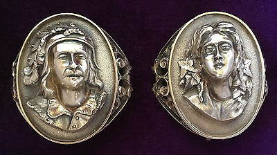 PAIR MEDALLION Sterling Silver VICTORIAN NAPKIN RINGS 1870s ROWENA & IVANHOE W&H