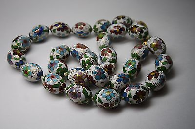 Vintage Chinese Cloisonne Large Size Bead  Hand Knotted  Necklace/estate Jewelry