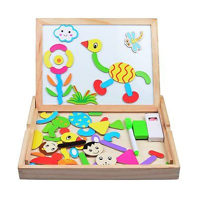Wooden Puzzle Magnetic Drawing Sketchpad Board Toys Animal Letters Numbers