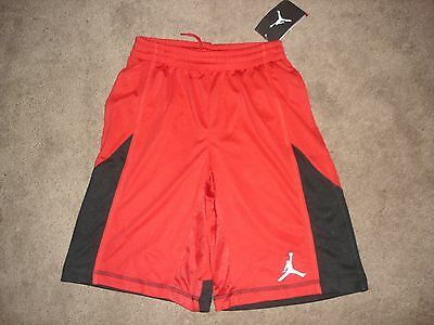 New Nike Dri-Fit Jumpman Air Jordan Red Black Basketball Shorts Sz M 10-12 NWT