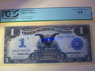 1899 1$ Dollar Silver Certificate Note Pcgs Very Choice New 64  Fr. 233!!! Rare!