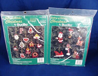 Gallery of Stitches Christmas by BUCILLA Set of 2 Jeweled Ornaments Set of 6 NEW